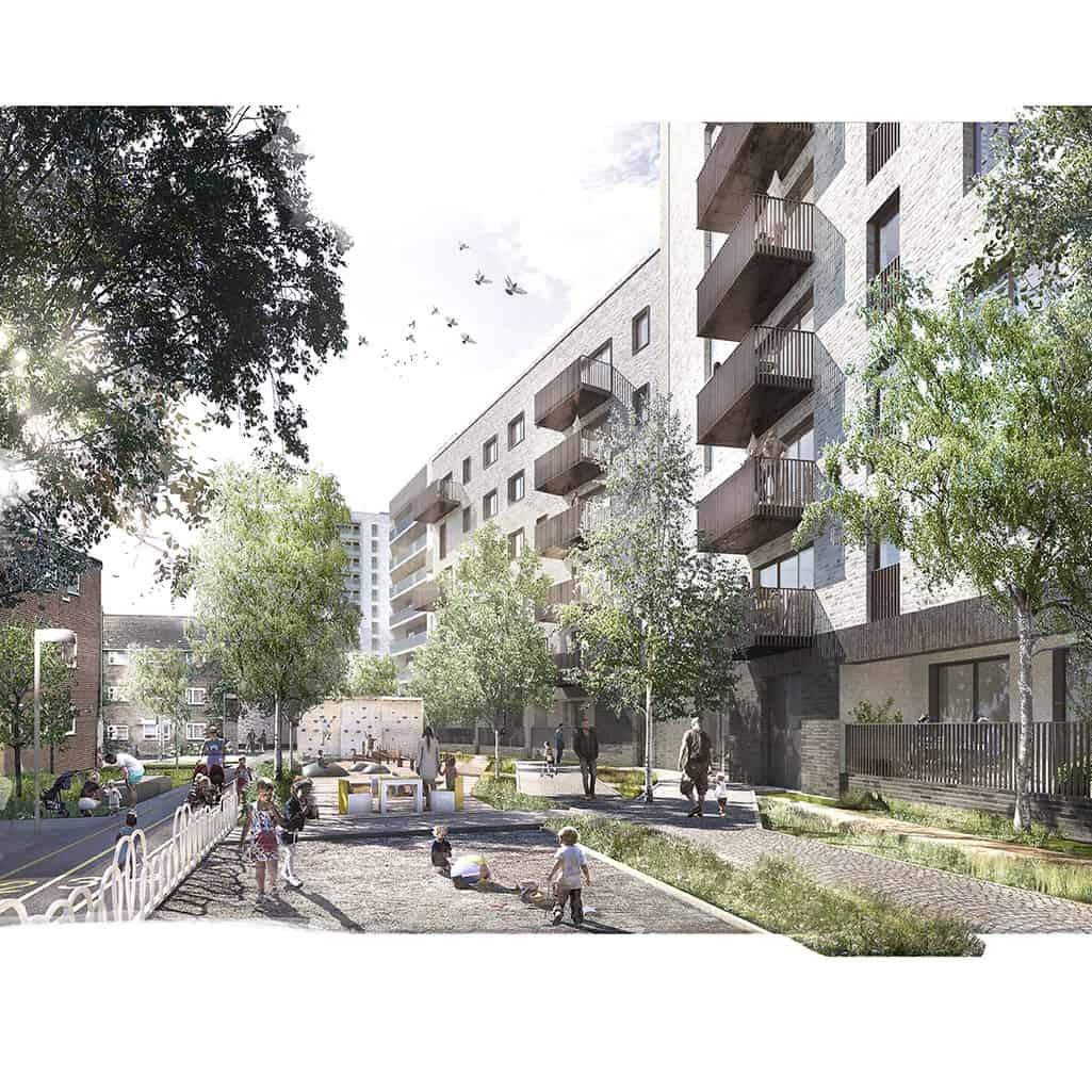 Gascoigne West Development Block A Courtyard View
