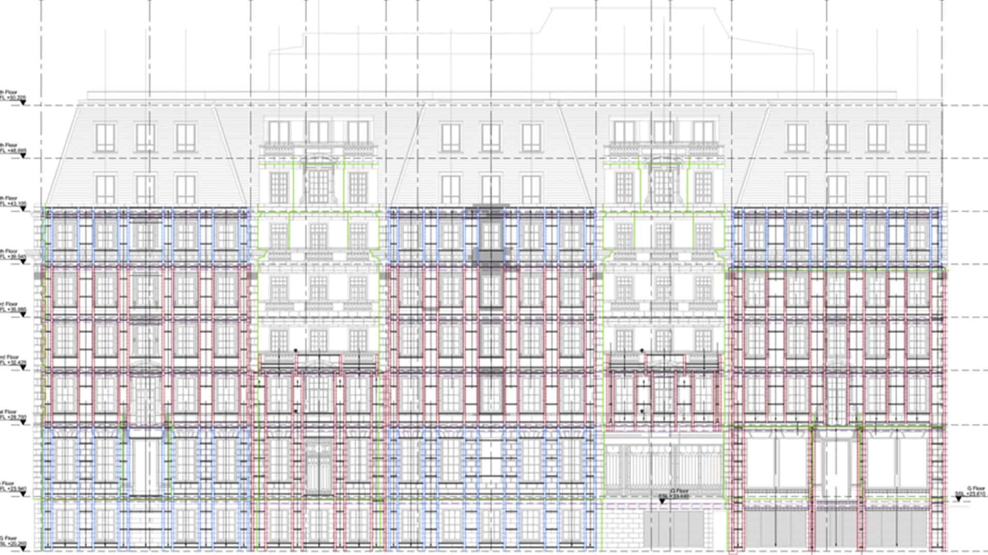 Mason Navarro Pledge 1-3 Grosvenor Square Grand Cornice Stone and Facade Restoration Drawing